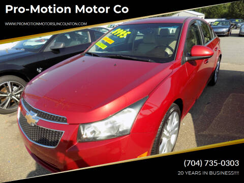 2012 Chevrolet Cruze for sale at Pro-Motion Motor Co in Lincolnton NC