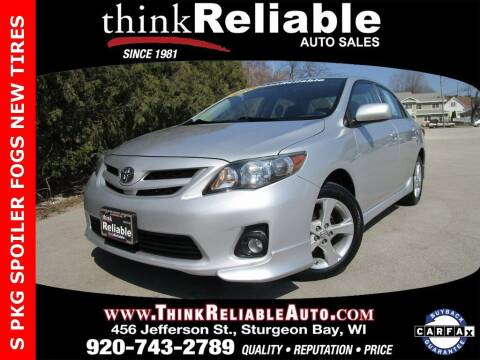 2012 Toyota Corolla for sale at RELIABLE AUTOMOBILE SALES, INC in Sturgeon Bay WI