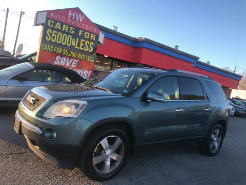 2010 GMC Acadia for sale at HW Auto Wholesale in Norfolk VA