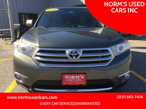 2012 Toyota Highlander for sale at NORM'S USED CARS INC in Wiscasset ME