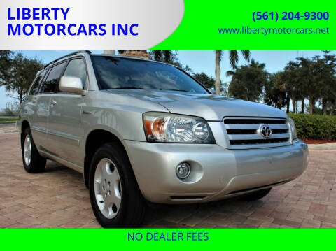 2004 Toyota Highlander for sale at LIBERTY MOTORCARS INC in Royal Palm Beach FL