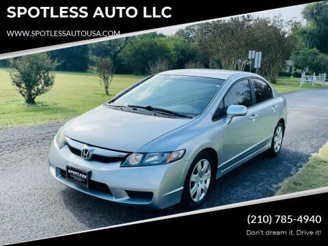 2011 Honda Civic for sale at SPOTLESS AUTO LLC in San Antonio TX