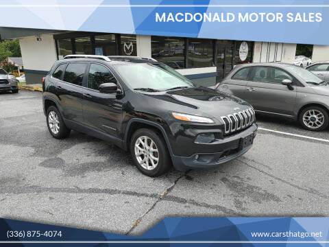 2014 Jeep Cherokee for sale at MacDonald Motor Sales in High Point NC