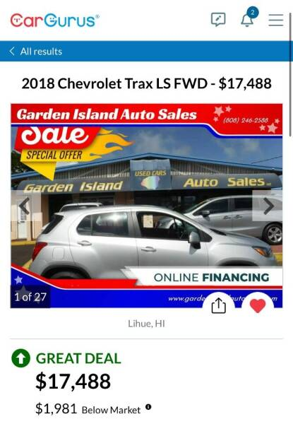 2018 Chevrolet Trax for sale at Garden Island Auto Sales in Lihue HI
