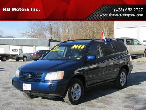 2001 Toyota Highlander for sale at KB Motors Inc. in Bristol VA