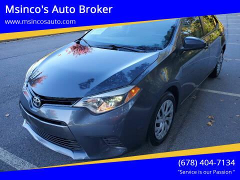 2015 Toyota Corolla for sale at Msinco's Auto Broker in Snellville GA
