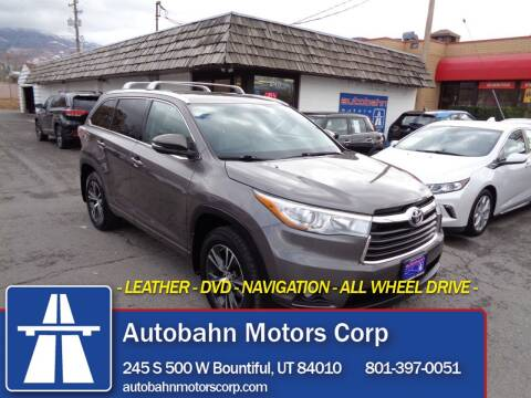 2016 Toyota Highlander for sale at Autobahn Motors Corp in Bountiful UT