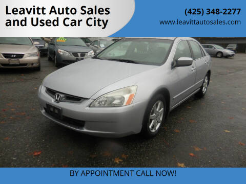 2004 Honda Accord for sale at Leavitt Auto Sales and Used Car City in Everett WA