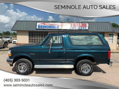 1995 Ford Bronco for sale at Seminole Auto Sales in Seminole OK