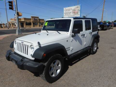 2016 Jeep Wrangler Unlimited for sale at AUGE'S SALES AND SERVICE in Belen NM