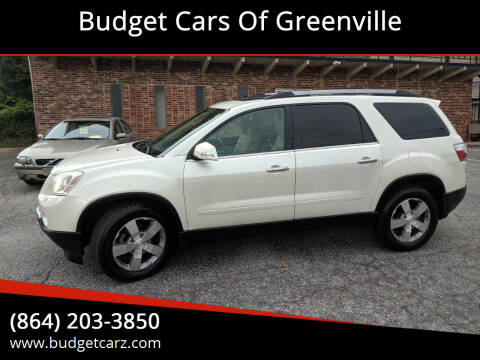2012 GMC Acadia for sale at Budget Cars Of Greenville in Greenville SC
