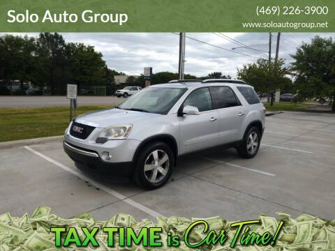 2009 GMC Acadia for sale at Solo Auto Group in Mckinney TX