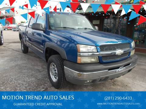 2004 Chevrolet Silverado 2500 for sale at MOTION TREND AUTO SALES in Tomball TX