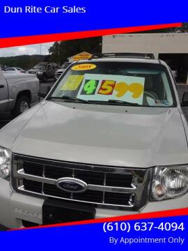 2008 Ford Escape for sale at Dun Rite Car Sales in Downingtown PA