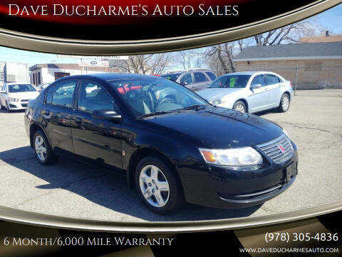 2007 Saturn Ion for sale at Dave Ducharme's Auto Sales in Lowell MA