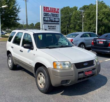 2002 Ford Escape for sale at Reliable Cars & Trucks LLC in Raleigh NC