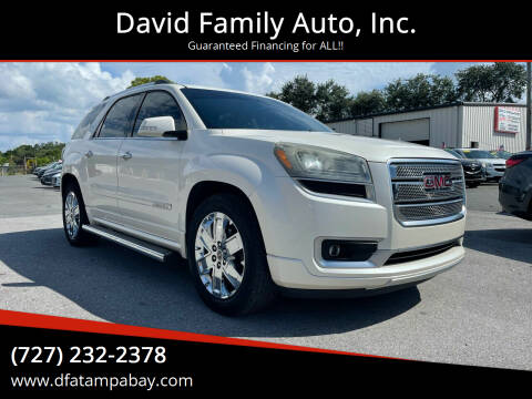 2013 GMC Acadia for sale at David Family Auto, Inc. in New Port Richey FL