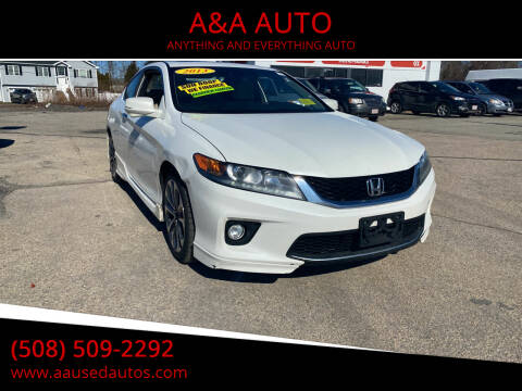 2013 Honda Accord for sale at A&A AUTO in Fairhaven MA