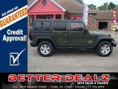 2015 Jeep Wrangler Unlimited for sale at Better Dealz Auto Sales & Finance in York PA