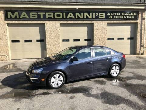 2015 Chevrolet Cruze for sale at Mastroianni Auto Sales in Palmer MA