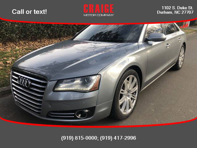 2013 Audi A8 for sale at CRAIGE MOTOR CO in Durham NC