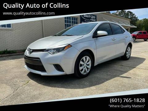 2016 Toyota Corolla for sale at Quality Auto of Collins in Collins MS