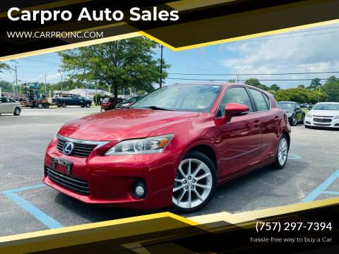2012 Lexus CT 200h for sale at Carpro Auto Sales in Chesapeake VA