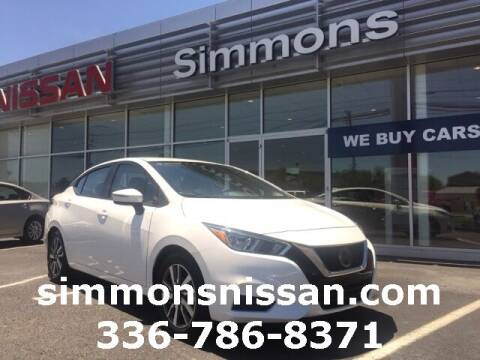 2020 Nissan Versa for sale at SIMMONS NISSAN INC in Mount Airy NC