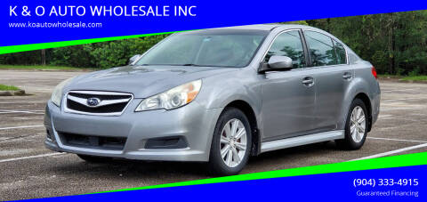 2010 Subaru Legacy for sale at K & O AUTO WHOLESALE INC in Jacksonville FL