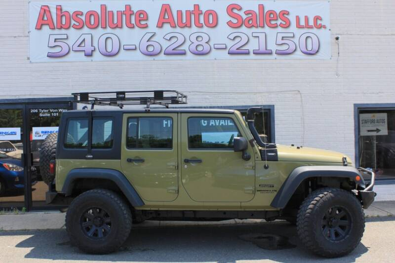 2013 Jeep Wrangler Unlimited for sale at Absolute Auto Sales in Fredericksburg VA