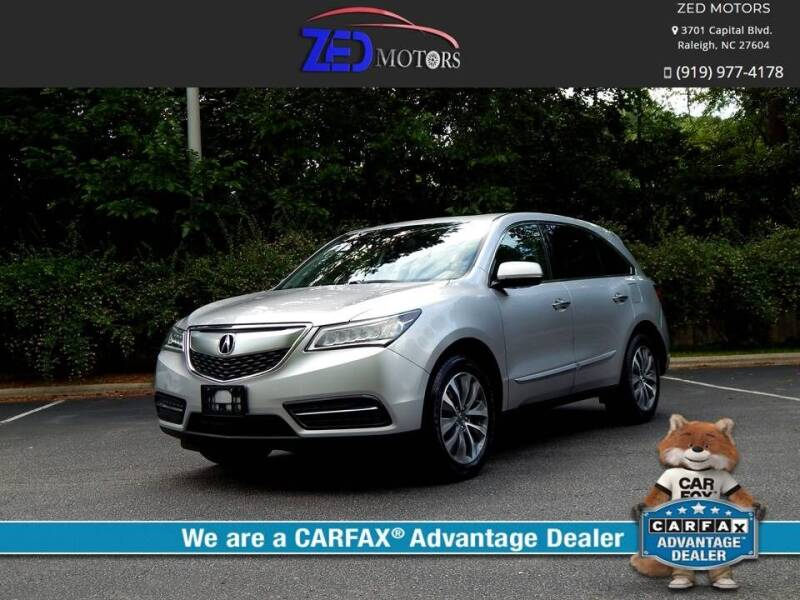 2015 Acura MDX for sale at Zed Motors in Raleigh NC