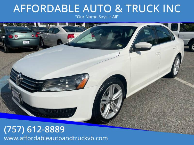 2014 Volkswagen Passat for sale at AFFORDABLE AUTO & TRUCK INC in Virginia Beach VA
