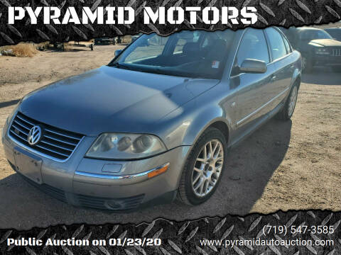 2003 Volkswagen Passat for sale at PYRAMID MOTORS - Pueblo Lot in Pueblo CO
