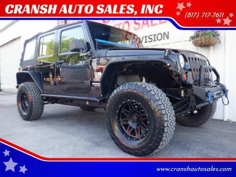 2013 Jeep Wrangler Unlimited for sale at CRANSH AUTO SALES, INC in Arlington TX