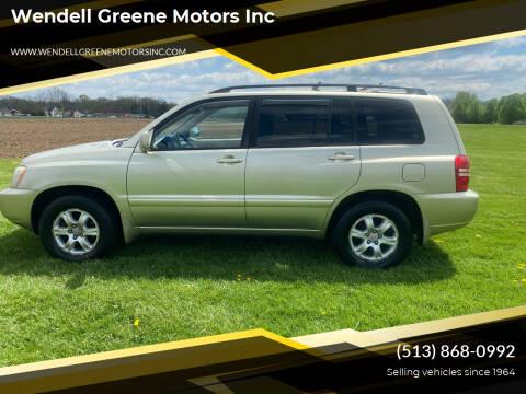 2003 Toyota Highlander for sale at Wendell Greene Motors Inc in Hamilton OH