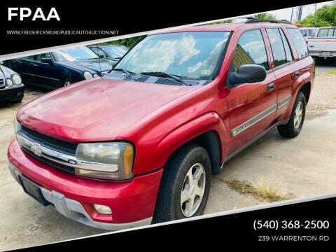 2002 Chevrolet TrailBlazer for sale at FPAA in Fredericksburg VA