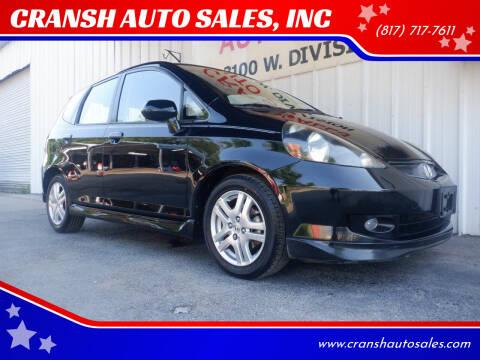 2008 Honda Fit for sale at CRANSH AUTO SALES, INC in Arlington TX