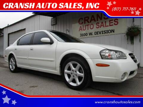 2002 Nissan Maxima for sale at CRANSH AUTO SALES, INC in Arlington TX