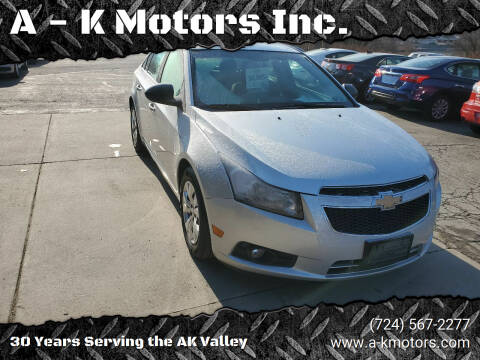 2012 Chevrolet Cruze for sale at A - K Motors Inc. in Vandergrift PA