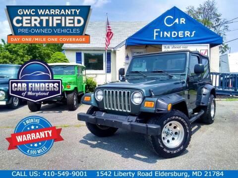 2004 Jeep Wrangler for sale at CAR FINDERS OF MARYLAND LLC - Certified Cars in Eldersburg MD