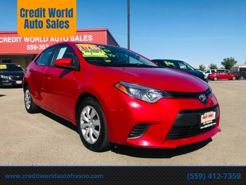 2016 Toyota Corolla for sale at Credit World Auto Sales in Fresno CA