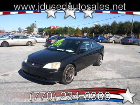 2002 Honda Civic for sale at J D USED AUTO SALES INC in Doraville GA