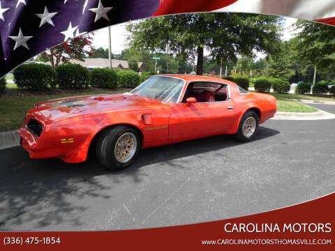 1978 Pontiac Trans Am for sale at CAROLINA MOTORS in Thomasville NC