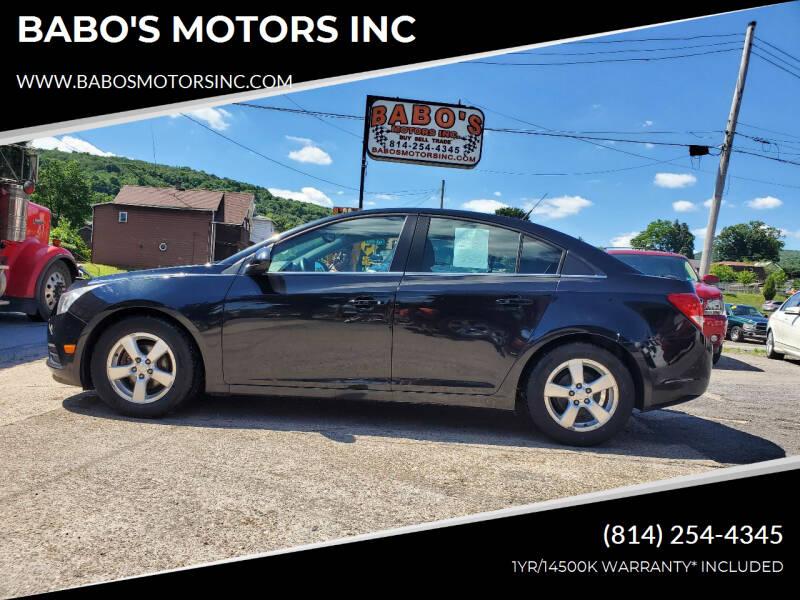 2013 Chevrolet Cruze for sale at BABO'S MOTORS INC in Johnstown PA