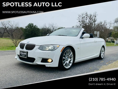 2013 BMW 3 Series for sale at SPOTLESS AUTO LLC in San Antonio TX