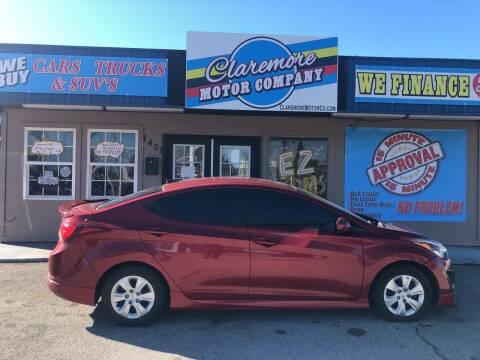 2016 Hyundai Elantra for sale at Claremore Motor Company in Claremore OK