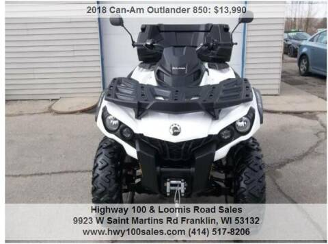 2018 Can-Am Outlander 850 for sale at Highway 100 & Loomis Road Sales in Franklin WI