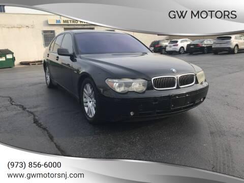 2003 BMW 7 Series for sale at GW MOTORS in Newark NJ