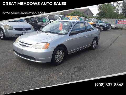 2003 Honda Civic for sale at GREAT MEADOWS AUTO SALES in Great Meadows NJ