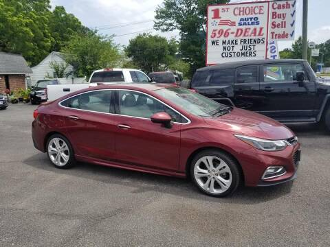 2016 Chevrolet Cruze for sale at 1st Choice Auto Sales in Newport News VA